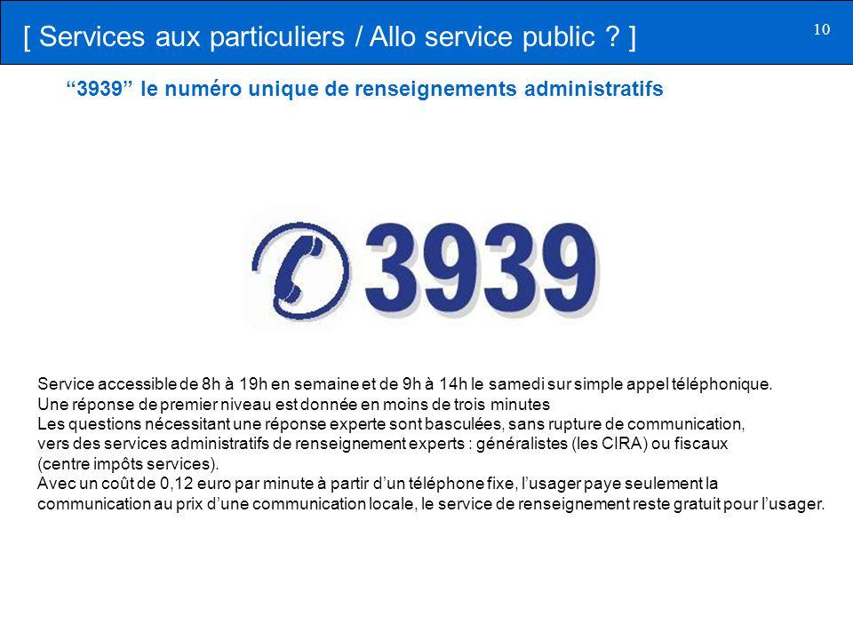 [ Services aux particuliers / Allo service public ]